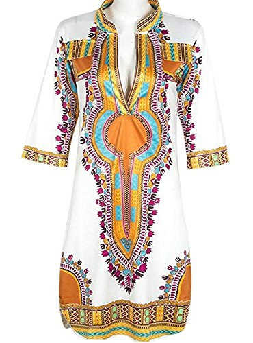 LAKAYA Traditional African Tribal Pattern Dashiki Bodycon Plus Size India Dress S White