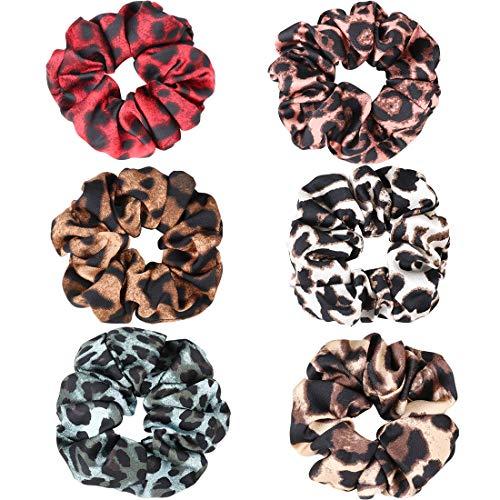 Animal Print Hair Bow - Ondder 6 Pack Women's Leopard Scrunchies Animal Print Chiffon Scrunchy Hair Bow Chiffon Ponytail Holder Elastic Bobbles Hair Ties Bands Scrunchie