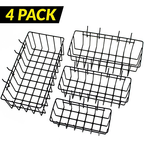 ToolAssort Pegboard Basket Set of 4, Hooks Easily to Arrange Accessories, Organizer Bins Transform any Garage, Crafts Room, Nursery or Kitchen, Black Vinyl Coated Wire Basket Kit (Buy Wire Baskets)