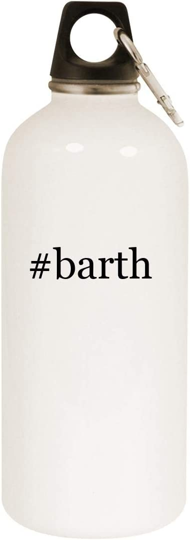 #barth - 20oz Hashtag Stainless Steel White Water Bottle with Carabiner, White