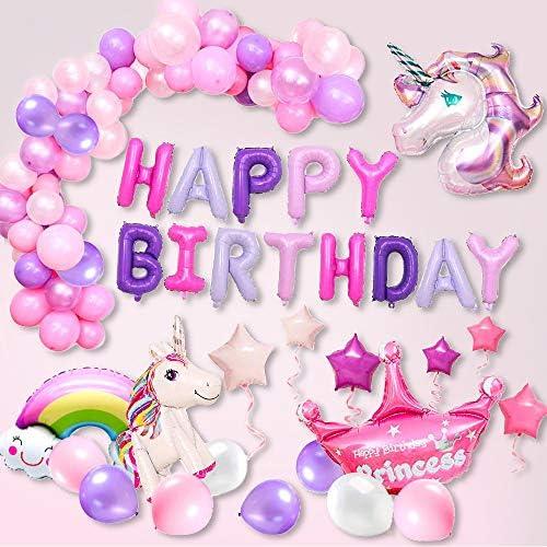 [スポンサー プロダクト]RunTure 風船 誕生日 飾り付け 3D ユニコーン パーティー風船 セット パーティー 装飾 Happy Birthday バルーン(ピンクパープル)
