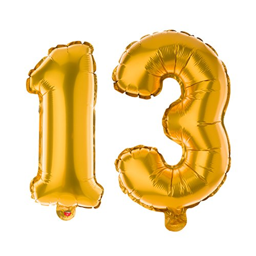 Ella Celebration Non-Floating 13 Number Balloons for 13th Birthday Party (Gold)