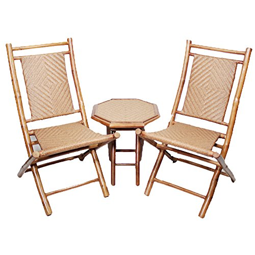 - Heather Ann Creations 3-Piece Bamboo Bistro Set with Diamond Weave, Brown and Tan