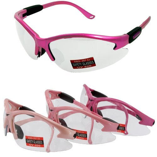 Medium Pink Cougar Safety Glasses (The color pink may vary) by Global Vision Eyewear