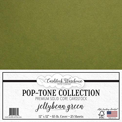 (Jellybean Green Cardstock Paper - 12 x 12 inch 65 lb. Premium Cover - 25 Sheets from Cardstock Warehouse)
