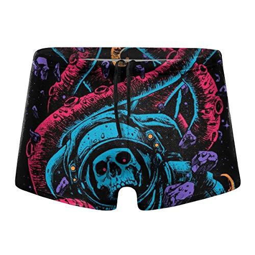 Octopus Sugar Skull Unique Spaceman Men's Beach Swimming Trunks Boxer Brief Swimwear Underwear Board Shorts Black]()