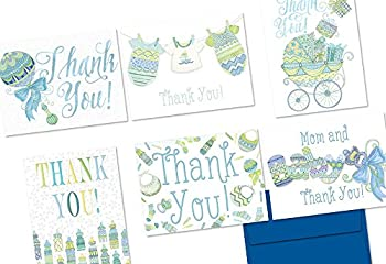72 Note Cards - Extra Sprinkles Baby Thank You Blue - 6 Designs - Blank Cards - Cobalt Blue Envelopes Included