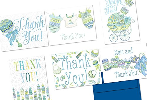Extra Sprinkles Baby Thank You Blue - 36 Note Cards - 6 Designs - Blank Cards - Cobalt Blue Envelopes Included