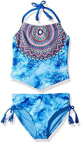 Angel Beach Big Girls' Tankini Swimsuit Set, Blue tie dye Tribal Print, - Angel Girl Little
