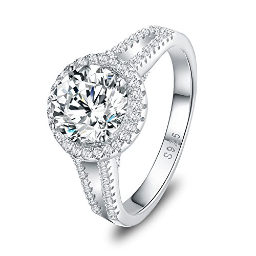 Mozume 3ct CZ Engagement Ring 925 Sterling Silver Wedding Anniversary Halo Solitaire Cubic Zirconia For Women (5.5)