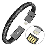 """Valentines Day Gifts Braided Bracelet Wrist Lightning Cable Data Bracelet Charging Cord for iphone-Leather Bracelet Charger Cuff USB for iphone Plus X iPAD (Black, M(7.2""""))"""