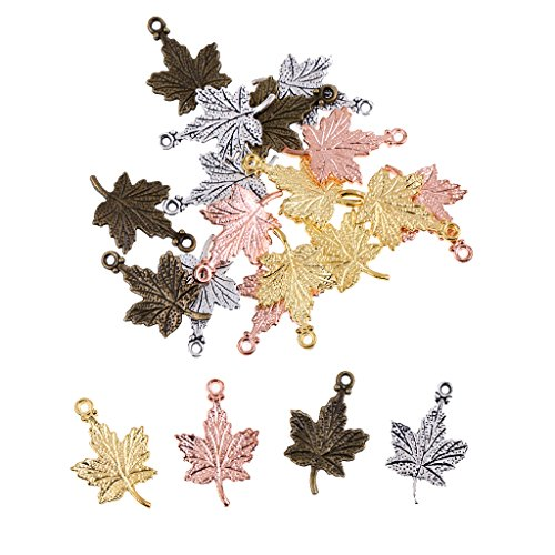 Leaf Gold Charm Pendant (Dovewill Wholesale 20pcs Mixed Color Maple Leaf Charm Pendant Beaded Jewelry DIY)