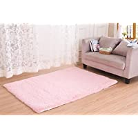 Super Soft Modern Area Rugs, CWKTITI Living Room Carpet Bedroom Rug Solid Home Decorator Floor Rug and Carpets 2.6- Feet By 5- Feet (Pink)
