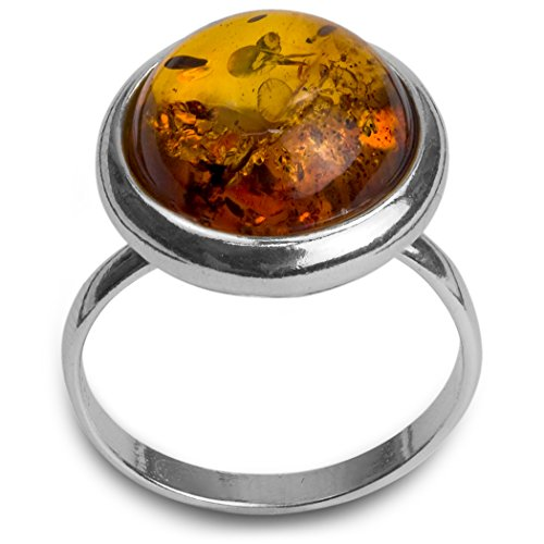 Sterling Silver Amber Round - Brown And Amber Round