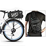 ieGeek Roswheel Multifunction Cycling Bicycle Bag Bike Rear Seat Carrier Saddle Back Seat Rack Pannier Bag Pouch with Elastic Strap for Outdoor Riding Traveling - Black