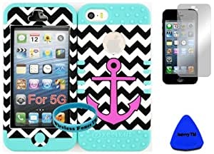 Wireless Fones TM Bumper Case for Iphone 5 Pink Anchor on Chevron Waves Snap on + Baby Teal Silicone Gel (Included: Wristband, Pry Tool and Screen Protector Exclusively By Wirelessfones TM)