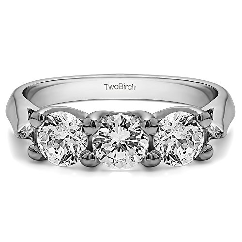 18K White Gold White Sapphire .99 CT Three Stone Trellis Wedding Ring (Size 3 To 15 1/4 Size Interval)