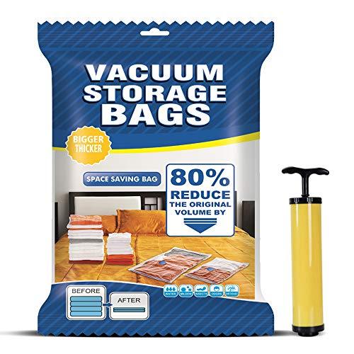 MONOLED Vacuum Storage Bags, Space Saver Bags, Premium Vacuum Compression 6 Bags (2 x Small, 2 x Medium, 2 x Large), Save 80% More Storage Space, Free Hand Pump for Travel!
