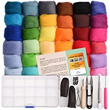 Needle Felting Kit - Wool Roving 36 Colors Set - Starter Tool Kit in a Storage Case and Foam Mat included - plus 15 Beginner Projects eBook with Instructions - Gift Idea – by Crafts Parade