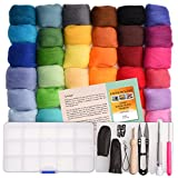 wet wool felting kits - Needle Felting Kit - Wool Roving 36 Colors Set - Starter Tool Kit in a Storage Case and Foam Mat included - plus 15 Beginner Projects eBook with Instructions - Gift Idea – by Crafts Parade