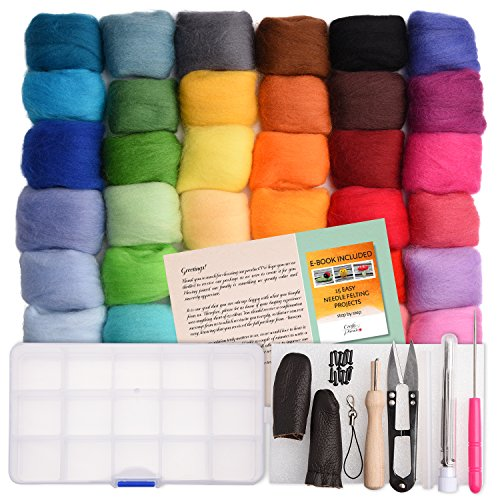 - Needle Felting Kit - Wool Roving 36 Colors Set - Starter Tool Kit in a Storage Case and Foam Mat Included - Plus 15 Beginner Projects eBook with Instructions - Gift Idea Crafts Parade