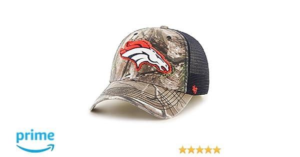 meet 7f886 64c1d Amazon.com    47 NFL Denver Broncos Realtree Huntsman Closer Stretch Fit Hat,  Large X-Large, Realtree Navy   Clothing