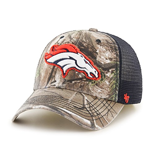 '47 NFL Denver Broncos Realtree Huntsman Closer Stretch Fit Hat, Large/X-Large, Realtree/Navy