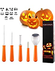 Halloween Pumpkin Carving Kit, Lippbest 5 Pcs Stainless Steel Carving Tools Set Halloween Jack-O'-Lantern Reusable Carve Tools with 10 pcs Carving Templates