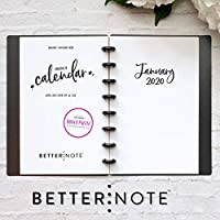 "BetterNote 2020 Monthly Calendar for Disc-Bound Planners, Fits 8-Disc Levenger Circa Junior, ARC, TUL, Half Letter Size 5.5""x8.5"" Whimsy (Notebook not included)"