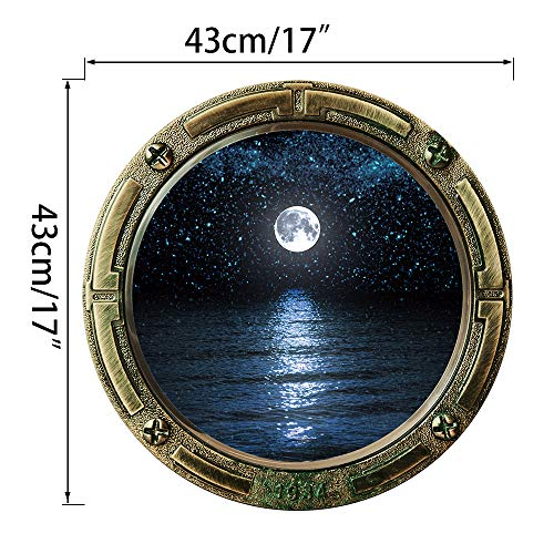 Home Find Moon Wall Decals Porthole Stickers Porthole Wall Decal Submarine Porthole Decor Wallpaper Porthole Wall Murals Peel and Stick Night Sky View for Kids Bedroom 16.9