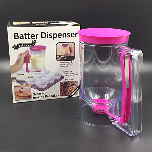 Crystallove Plastic Pancake Batter Dispenser with Measurement for Cupcake Muffin Pastry Baking Tools Single Night