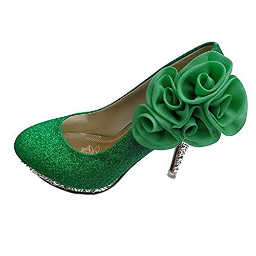 Allhqfashion Womens Shiny Pumps Pull-on Pumps Schoenen Met Bloemen, Greenhxff5, 39