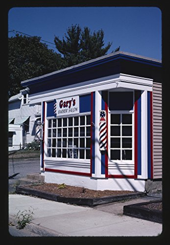 - 16 x 24 Gallery Wrapped Framed Art Canvas Print of Gary's Barber Shop, Seekonk, Massachusetts 2005 Roadside Americana Ready to Hang 03a