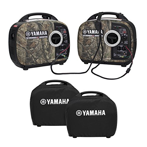 Yamaha EF2000iSv2 Portable RV Generator 2000 Watt Kit in Camo with Sidewinder Parallel Cable & Covers | 2 Camo Generators / Inverters, 1 Sidewinder Parallel Cable, 2 Generator Covers (Black)