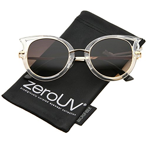 zeroUV - Women's Metal Temple Cutout Oversize Exaggerated Cat Eye Sunglasses 49mm (Clear-Gold / - Out Cat Cut