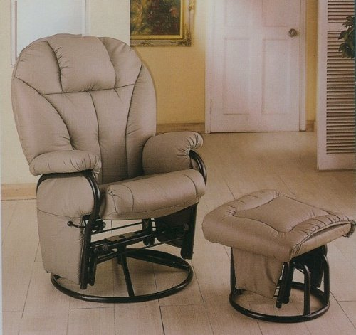 Bone Leatherette Glider Rocker Recliner Chair with Ottoman (Glider Leatherette Recliner)