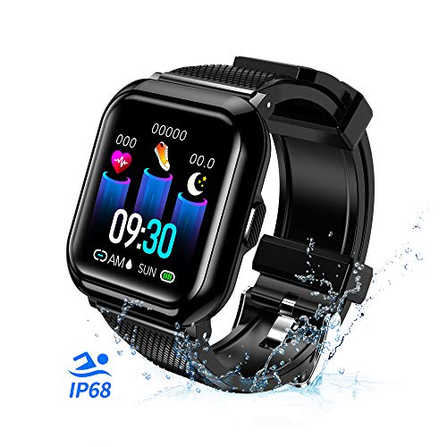 T-CORE Fitness Tracker Smart Watch, Activity Tracker with Heart Rate Monitor, IP68 Waterproof Fitness Band with Blood Pressure, Step, Calorie Counter, Pedometer Watch for Kids Women and Men -Black