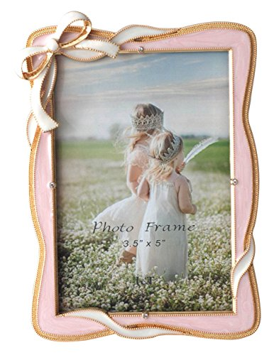 (L&T Elegance Bow Picture Frame 3.5x5 Inch, Gold Metal Photo Frame with Pink Enamel and Crystals)