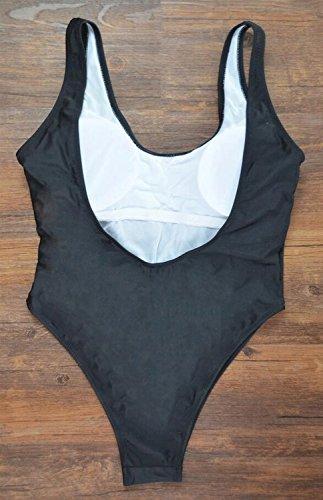 Traje de baño de moda bikini impresión negro traje de baño ajustado chaleco spa traje de baño de playa Negro