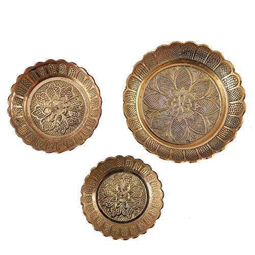 5Elements Amboz Plate (Set of 3) L-Dia 4.8inch, M-Dia 3.8inch, S-Dia 3.3inch & Height All .5inch
