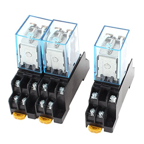 3 Pcs DC 12V 5A Coil 35mm DIN Rail DPDT 8Pin Power Relay + Socket Base
