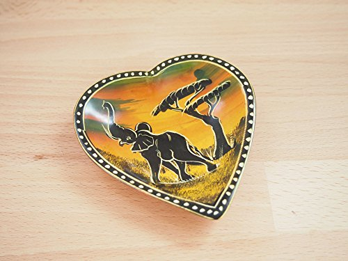 Handcrafted African Yellow-Orange Elephant Heart Soapstone Ring Dish, Made in Kenya - Elephant Yellow Ring