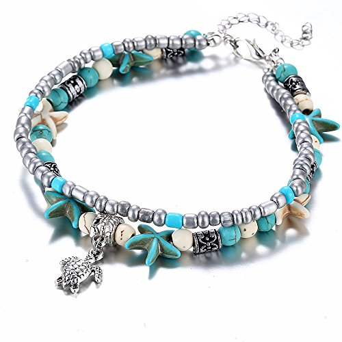 Bohemian Two Layers Starfish Beaded Chain Turtle Charm Anklet, Handmade Ankle Bracelet for Women Summer Foot Jewelry - Beaded School Bracelet Charm