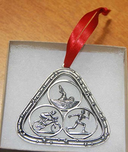 Triathlon Pewter Holiday Ornament