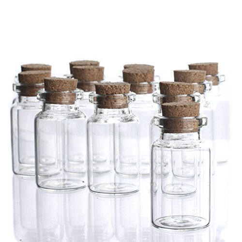 Factory Direct Craft Group of 24 Miniature Clear Glass Jars with Cork Stopper Perfect for Miniature Terrariums, Storing and Decorating]()