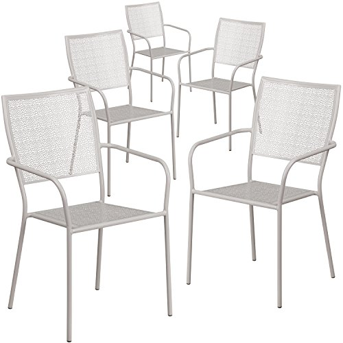 Flash Furniture 5 Pk. Light Gray Indoor-Outdoor Steel Patio Arm Chair with Square Back