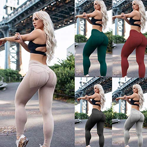PASATO New! Women Solid High-Waisted Sexy Skinny Leggings Runing Outdoor Sport Push Up Yoga Pants(Gray,L=US:M) by PASATO Pant For Women (Image #7)