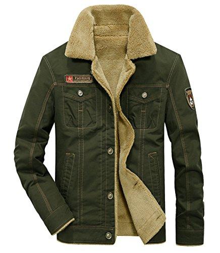 2018 Men's Winter Wool Blend Warm Thicken Jacket Stand Collar Coat Outerwear (Large, Green) -