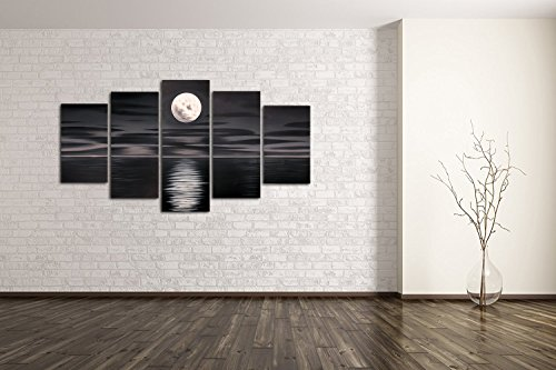 FLY SPRAY 5-Piece 100% Hand-Painted Black Oil Paintings Panels Stretched Framed Ready Hang Moon Sea Moonlit Night Modern Abstract Canvas Living Room Bedroom Office Wall Art Home Decoration