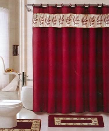 Red And Gold Shower Curtain. Oakland Burgundy Gold 18 piece Bathroom Set  2 rugs mats 1 Amazon com